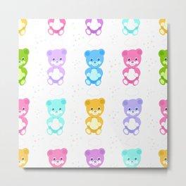 Colorful cute bears. Teddy bears pastel colored pattern Metal Print