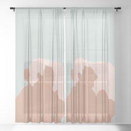 Couple kissing Sheer Curtain