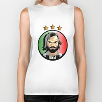 pirlo Biker Tanks featuring Maestro  by Miguel Angel Illustrations