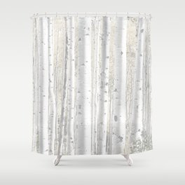 Pale Birch Trees 255 Shower Curtain