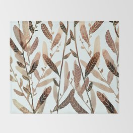 Autumn Nature Watercolor Throw Blanket
