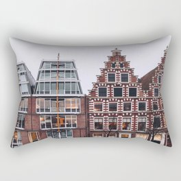 Symmetrical twin canal houses near Spaarne river in Haarlem in winter II | Haarlem historical city, the Netherlands | Urban travel photography Art Print Rectangular Pillow