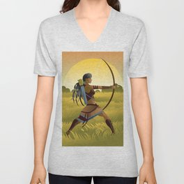 indian native african huntress archer warrior with bow and arrow in the wild Unisex V-Neck