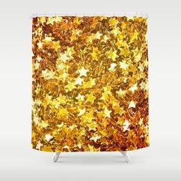 Glittering Golden Stars Shower Curtain