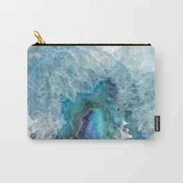 Blue Watercolor Agate Geode Print Carry-All Pouch