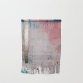 Morning Light: a minimal abstract mixed-media piece in pink gold and blue by Alyssa Hamilton Art Wall Hanging