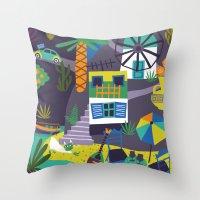 greece Throw Pillows featuring Greece by Marijke Buurlage