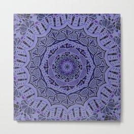 Romantic Violet Mandala at Midnight Metal Print