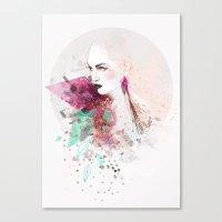 fashion illustration Canvas Prints featuring FASHION ILLUSTRATION 3 by Justyna Kucharska