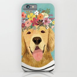 Golden Retriever Dog with Floral Crown Art Print – Funny Decoration Gift – Cute Room Decor – Poster iPhone Case