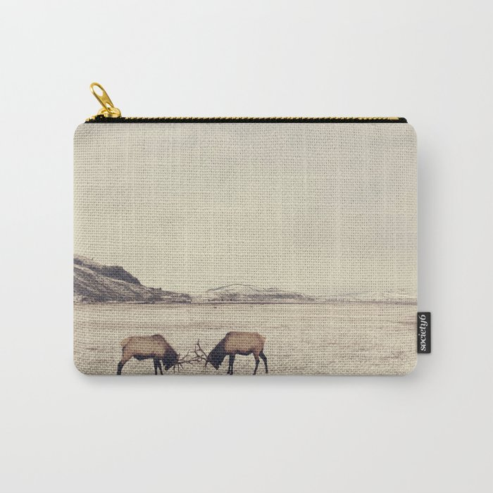 Sparring Elk in Wyoming - Wildlife Photography Carry-All Pouch