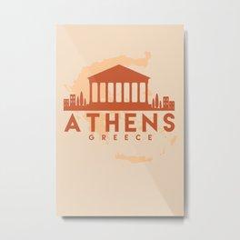 ATHENS GREECE CITY MAP SKYLINE EARTH TONES Metal Print