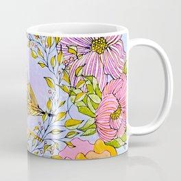 Spring Chickadee in Flowery Woodland Wreath Coffee Mug
