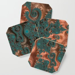 Copper Leaves - Fractal Art Coaster