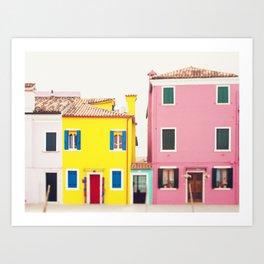 Get Happy - Burano Italy Travel Photography Art Print