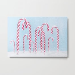 Christmas background with candy cane. Metal Print