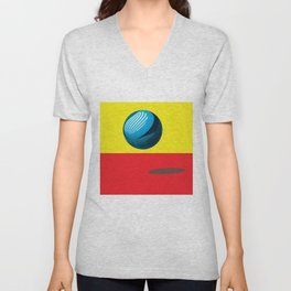 Bounce - Abstract Minimalism Red Yellow Blue Unisex V-Neck