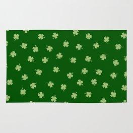 Green Shamrocks Green Background Rug