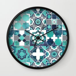 Spanish moroccan tiles inspiration // turquoise green silver lines Wall Clock