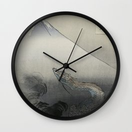 Dragon Rising to the Heavens at Mount Fuji by Ogata Gekko Wall Clock