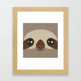 funny and cute smiling Three-toed sloth on brown background Framed Art Print