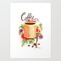 coffe Art Prints featuring Coffe Addict by Luana Mucci