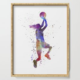 Young woman basketball player 05 in watercolor Serving Tray
