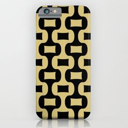 Mid Century Modern Ogee Pattern 339 Black and Gold iPhone Case