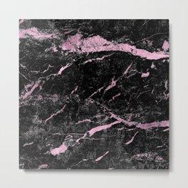 Marble Black Pink - Far Away Metal Print