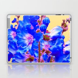 Blue & Purple Holly Hocks Pattern Yellow Floral Art Laptop & iPad Skin