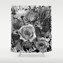 Bella Rose Black and White Shower Curtain