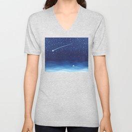 Falling star, shooting star, sailboat ocean waves blue sea Unisex V-Neck
