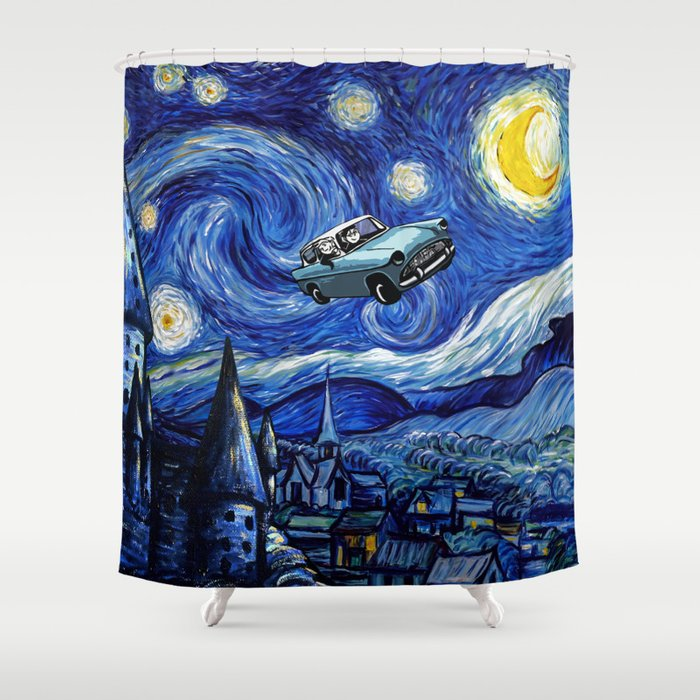 Harry And Ron on The Flying Car Shower Curtain by eastblue | Society6