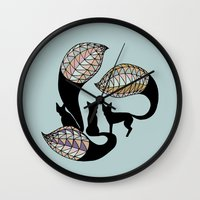 foxes Wall Clocks featuring Foxes by Alexandra Boman