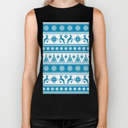 Christmas Holiday Nordic Pattern Cozy Biker Tank