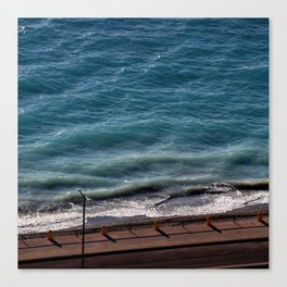 Road next to the turquoise colored sea  Canvas Print