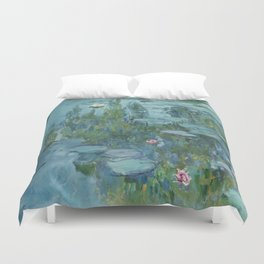 Water Lilies Monet 1915 teal Duvet Cover