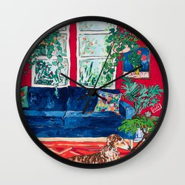 Red Interior with Borzoi Dog and House Plants Painting Wall Clock