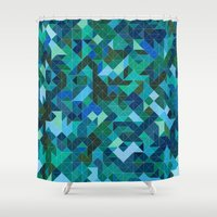 camouflage Shower Curtains featuring 'Camouflage' by Mina & Jon