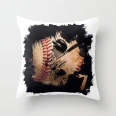 Craig Biggio Illustration in Black Throw Pillow