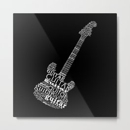 Typographic guitar Metal Print