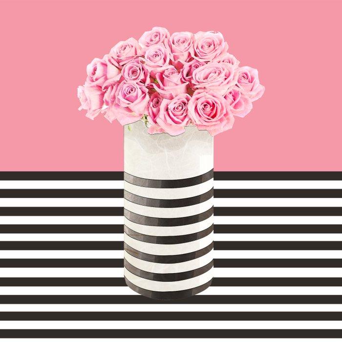 Roses and stripes Duvet Cover
