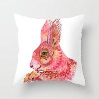 squirrel Throw Pillows featuring The squirrel magic  by Ola Liola