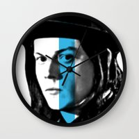 jack white Wall Clocks featuring Jack White by nufertity