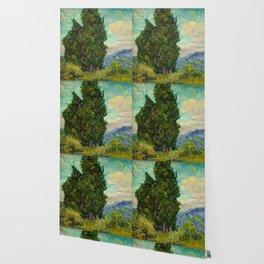Cypresses Oil Painting Landscape Vincent van Gogh Wallpaper