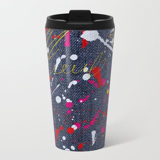 Paint splattered jeans Metal Travel Mug