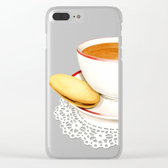 Cup of Tea and a biscuit Clear iPhone Case