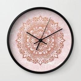 Mandala on concrete - rose gold Wall Clock