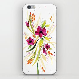 Floral Watercolor on White iPhone Skin