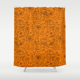 Hallooween doodles seamless pattern Shower Curtain